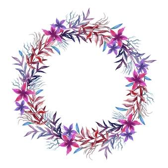 Guirlanda floral luxuriante no conceito de estilo aquarela