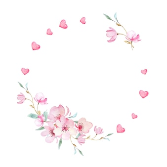 Guirlanda floral para o dia dos namorados. coleção floral elegante com belas flores de sakura e corações em aquarela desenhada à mão.
