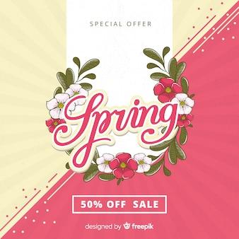 Guirlanda floral primavera venda fundo
