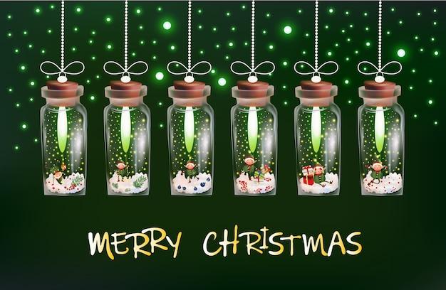 Guirlanda mágica de natal com flocos de neve, brilhos e duendes dentro de uma garrafa de vidro.