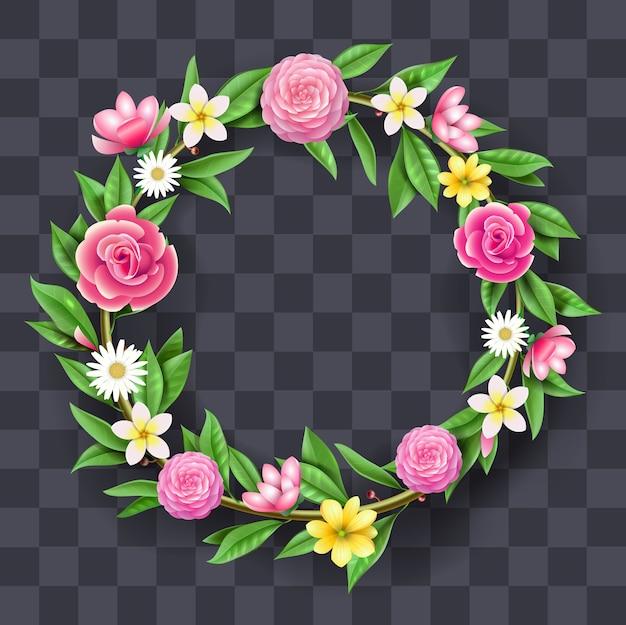 Guirlanda redonda festiva de flores, grinalda. decoração artística e floricultura