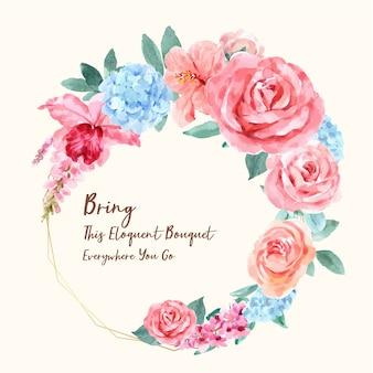 Guirlanda retrô de flores rosas em estilo aquarela
