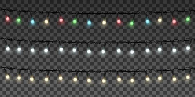 Guirlandas com luzes coloridas transparentes