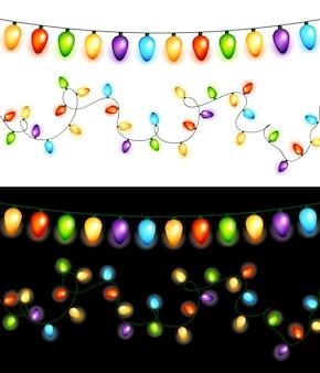 Guirlandas de bulbos de natal coloridas isoladas em fundos brancos e pretos