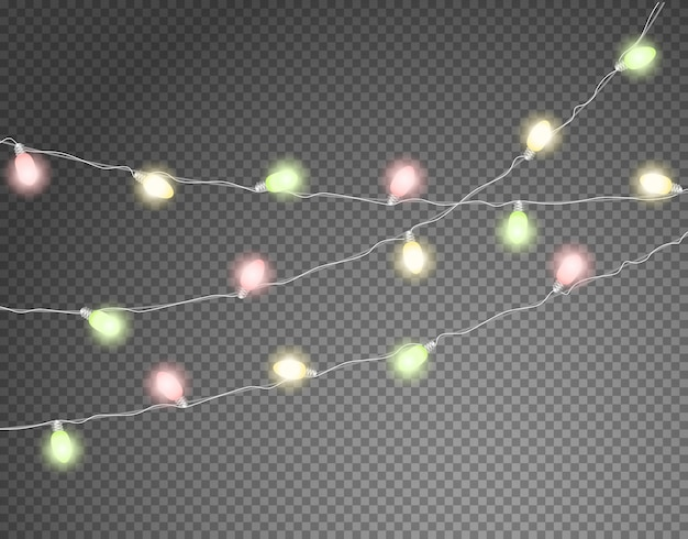Guirlandas de luz de cor diferente isoladas em transparente