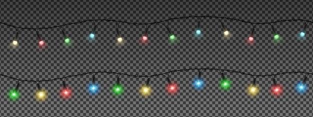 Guirlandas de natal, lâmpadas coloridas.