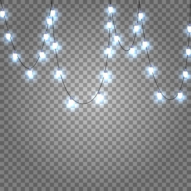 Guirlandas e luzes penduradas. decorações de luzes de natal isoladas em transparente. luz branca e fria. decoração de natal caída. elemento festivo
