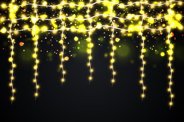 Guirlandas, fundo de efeitos de luzes de decorações de natal