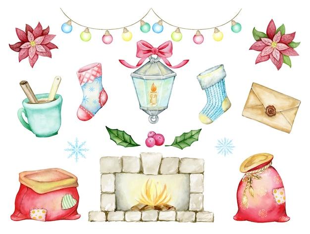 Guirlandas, lareira, meias, presentes, flocos de neve, lanterna, poinsétia, frutas vermelhas. elementos de natal em aquarela