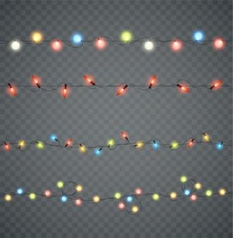 Guirlandas. luzes brilhantes led de natal em cores diferentes. decoração de ano novo.