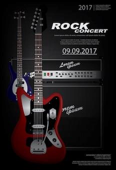 Guitar concert poster background template ilustração
