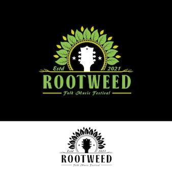 Guitar head leaf and root logo para folk music festival