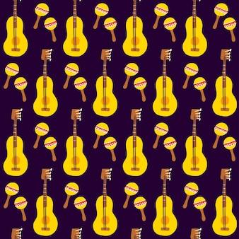 Guitar maracas seamless pattern. ilustração em vetor de fundo de música mexicana.