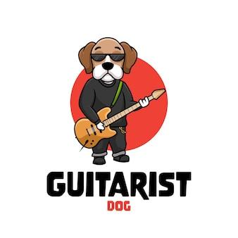 Guitarist dog music cartoon character ilustração creative logo