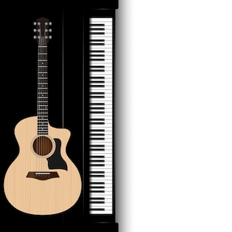 Guitarra acústica e piano isolado no branco.