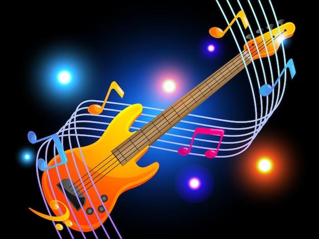 Guitarra baixo com música elegante de notas musicais
