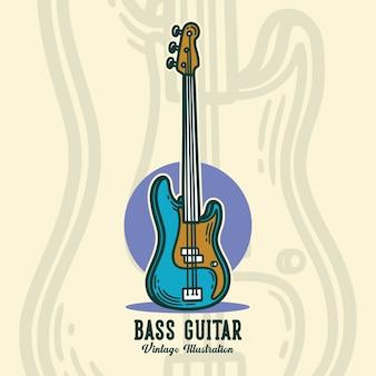 Guitarra baixo com tipografia vintage para design de camisetas