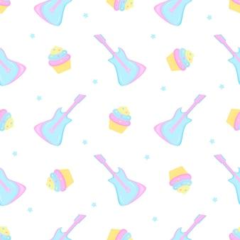Guitarra, bolo e estrelas. padrão sem emenda para a decoração do berçário para uma menina ou menino, para o desenho de roupas de crianças, coisas.