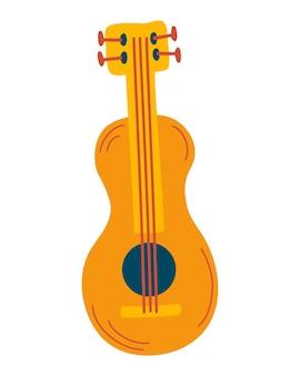 Guitarra clássica de madeira. instrumentos musicais de cordas. equipamento de rock ou jazz. um ótimo item para um festival de música. ilustração de desenho vetorial. Vetor Premium