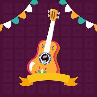 Guitarra com fita e guirlandas