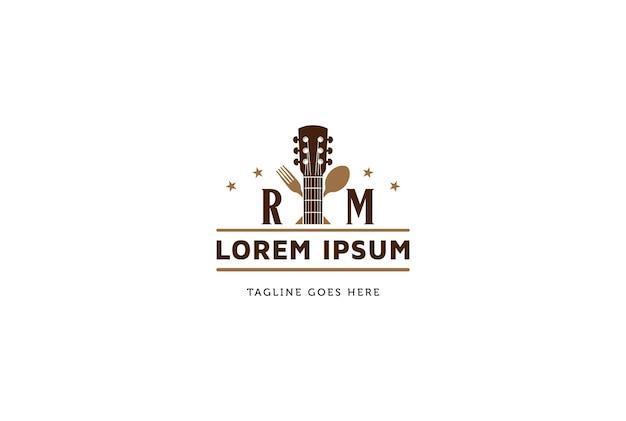 Guitarra com garfo de colher para bar, café, restaurante, vetor de design de logotipo de música ao vivo