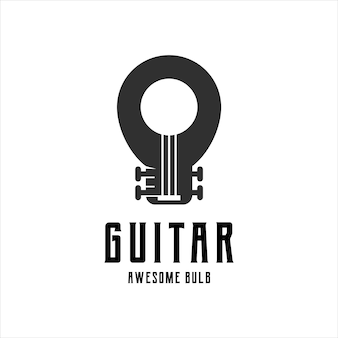 Guitarra com logotipo de lâmpada retrô vintage