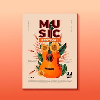 Guitarra de cartaz do festival de música com girassol