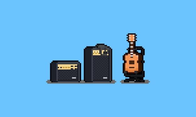 Guitarra de desenho animado pixel art com amplificador.