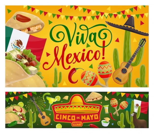 Guitarra de festa mexicana de cinco de mayo, sombrero, bandeira