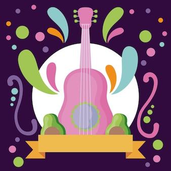 Guitarra de instrumento musical com abacates