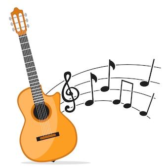 Guitarra de instrumento musical e notas em um fundo branco. música de guitarra