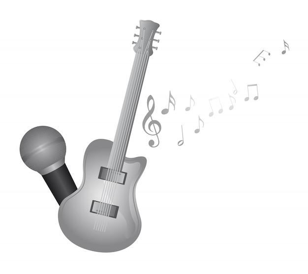 Guitarra de prata e microfone com vetor de notas de música