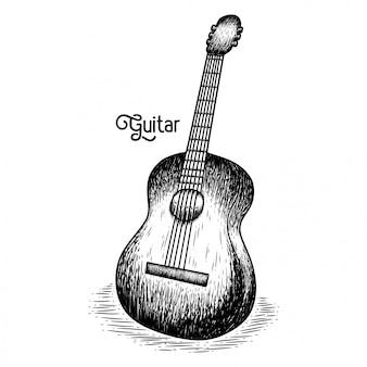 Guitarra desenhada à mão