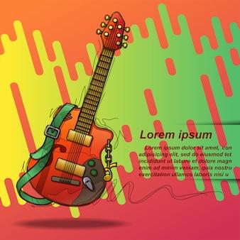 Guitarra do cartaz em esboçar o estilo e o texto.