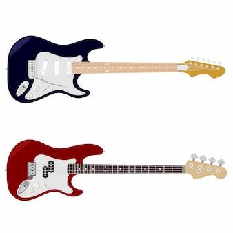 Guitarra e baixo com cordas isoladas