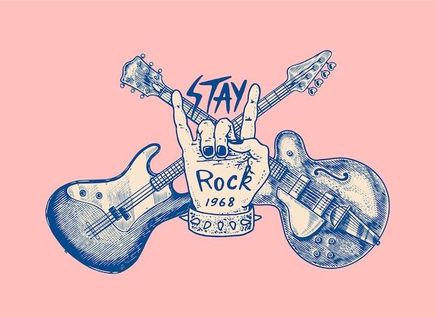 Guitarra e mão para esboço de grunge desenhado para festival de jazz com uma tatuagem ou camiseta