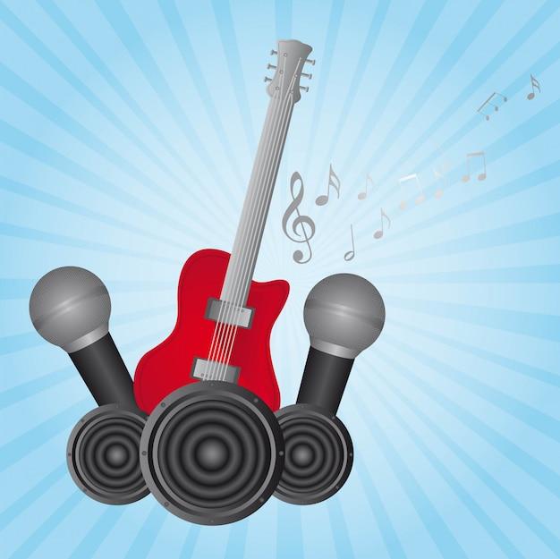 Guitarra e microfone sobre vetor de fundo azul