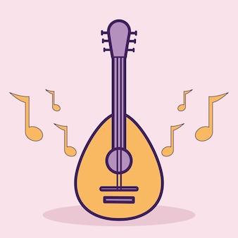 Guitarra e notas musicais em um fundo rosa