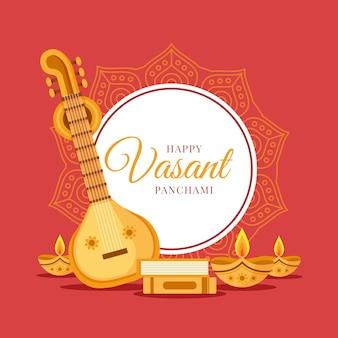 Guitarra e velas de design plano vasant panchami