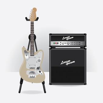 Guitarra elétrica com ilustração vetorial de amplificador de guitarra