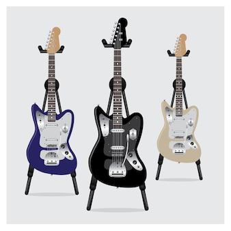 Guitarra elétrica com suporte