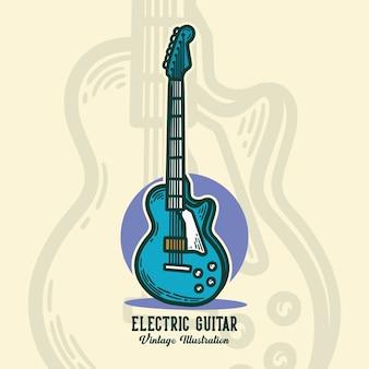 Guitarra elétrica de tipografia slogan vintage para design de camisetas