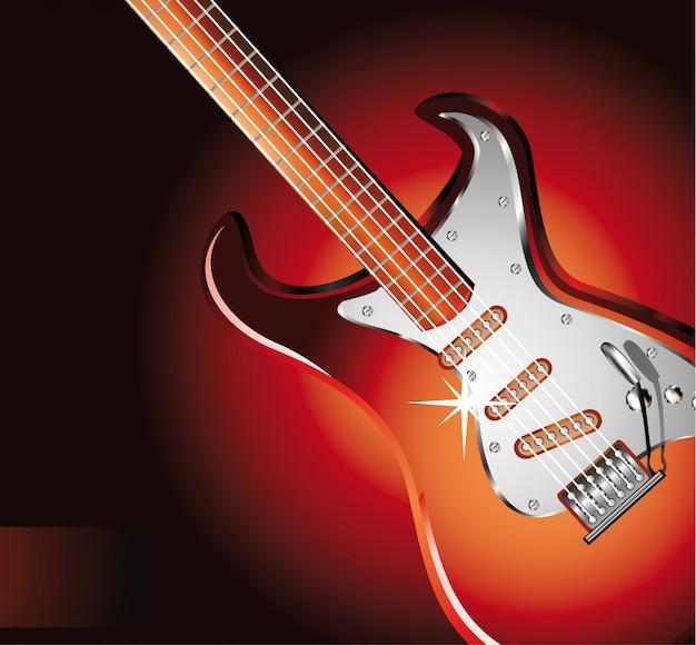 Guitarra elétrica no vermelho