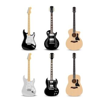 Guitarra elétrica realista e violão isolado no fundo branco, ilustração vetorial