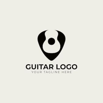 Guitarra em modelo de logotipo de palheta. desenho de vetor de escolha de guitarra.
