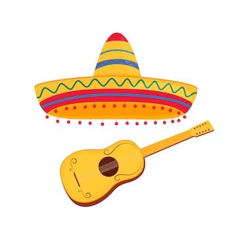 Guitarra espanhola e ilustração em vetor sombrero mexicano isolada no fundo branco.
