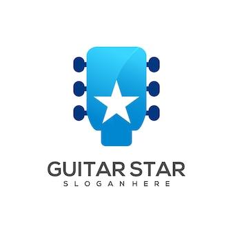 Guitarra logo com gradiente de estrela