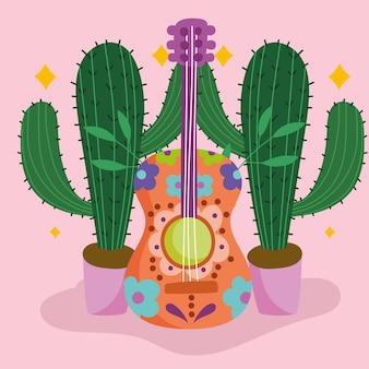 Guitarra mexicana e cacto em vasos cultura ilustração tradicional