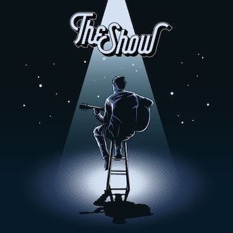 Guitarra o vetor de ilustração do show