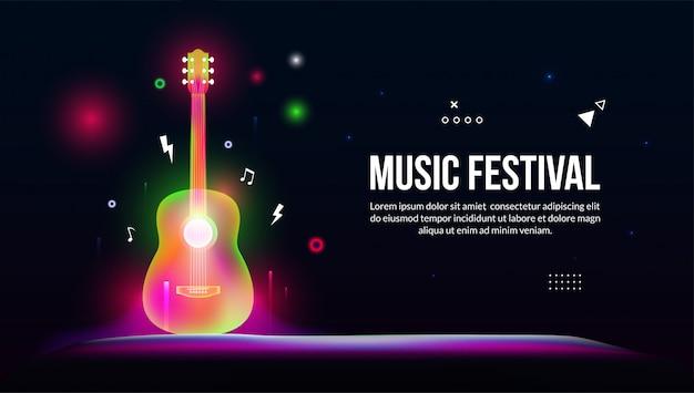 Guitarra para festival de música no estilo de arte luz de fantasia.